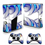 Protective Vinyl Skin Decal Cover for Microsoft Xbox 360 S Slim + 2 Controller Skins Sticker Skins Blue Fire