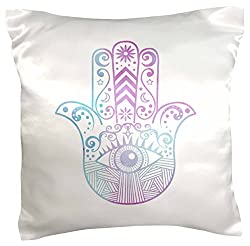 3dRose pc_217283_1 Hamsa Hand Purple and Blue watercolor - pillow Case, 16 by 16