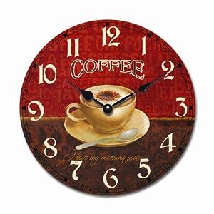 Orologio da parete design cappuccino rosso per cucina o - Orologi da parete per cucina thun ...
