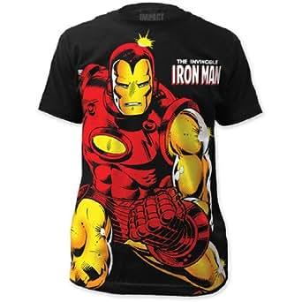 .com: Iron Man - Mens Invincible Big Print Subway T-Shirt: Clothing