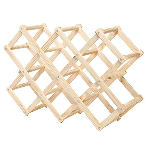 Accordion Design Geometric Foldable 10-Bottle Wooden Wine Rack / Organizer Display - MyGift�