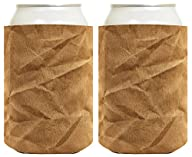 Funny Beer Coolie Brown Paper Bag Gag Gift Coolies 2 Pack Can Drink Coolers Multi
