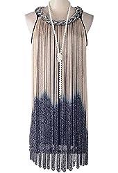 KAYAMIYA Women's Chain Neck Swing Ombre Draping Tassel Flapper Gatsby Costume Dress