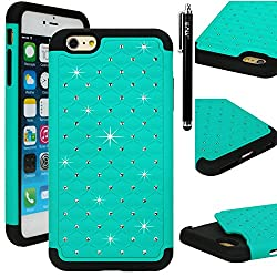 iPhone 6s plus/ 6 Plus Case, E LV iPhone 6s plus/ 6 Plus Case Cover Full Body Hybrid Armor Protection Defender Bling Case Cover - Dual Layer Armor Protective Case Cover for Apple iPhone 6s plus/ 6 Plus (5.5 INCH) - TEAL
