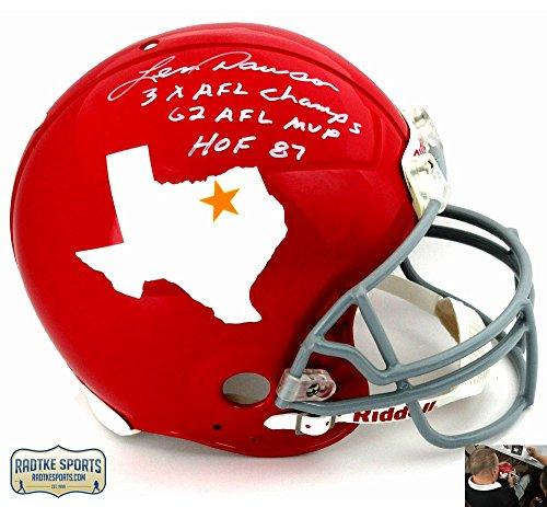 "Len Dawson Autographed/Signed Dallas Texans Riddell Throwback Authentic NFL Helmet with ""3x AFL Champs - 62 AFL MVP - HOF 87"" Inscription"