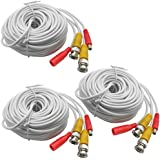 3-Pack 20M 65ft. White Pre-made All-in-one BNC Video And Power Cable Wire With Connector DC 2.1mm For CCTV Surveillance...