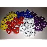 MATCHED COLOUR D&D RPG Dice bulk dice pack - 5x7 dice sets, opaque, plastic 5 colours. Contains d4, d6, d8, d10, d%, d12 and d20 x5