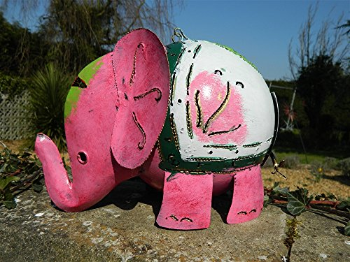 Elephant Tea Light Holder Metal Elephant Garden Lantern - XL Pink Elephant 30cm Tealight