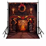 CAMTOA 7x5ft Christmas Photography Background Red Candle Fire Studio Backdrop ( NO INCLUDE THE STAND ! )
