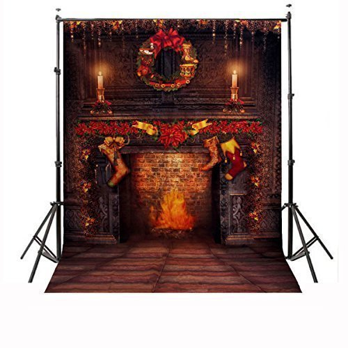 CAMTOA-7x5ft-Christmas-Photography-Background-Red-Candle-Fire-Studio-Backdrop-NO-INCLUDE-THE-STAND