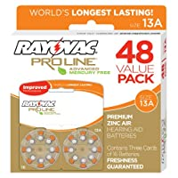 Rayovac Proline Advanced Hearing Aid Batteries Size 13, 48 Pack