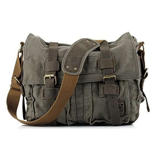 iBaste New Style Vintage Canvas Large Unisex Messenger Shoulder Bag Leather Trim School Military Shoulder Bag...