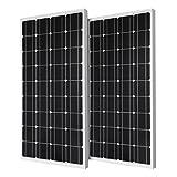 Renogy 2 Piece 100W Monocrystalline Photovoltaic PV Solar Panel Module, 12V Battery Charging
