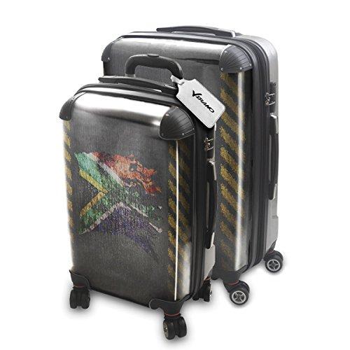 Drapeau Déchiré Afrique Du Sud, 2 pièce Set Luggage Bagage Trolley de Voyage Rigide 360 degree 4 Roues Valise avec Echangeable Design Coloré. Grandeur: Adapté à la Cabine S, L