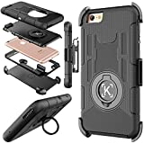 iPhone 6 case, Kaptron (TM) iPhone 6S hybrid dual layer combo armor defender protective case with kickstand and belt clip for iPhone 6S / 6 (Black)