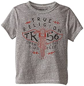 True Religion Little Boys' Open Road Short Sleeve Graphic Tee, Heather Grey, 4