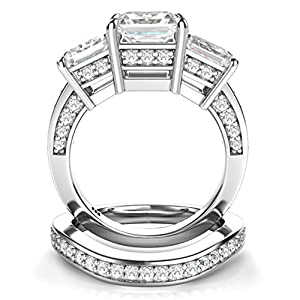 Sz 12 Sterling Silver 3 Carat Princess Cut Cubic Zirconia CZ Wedding Engagement Ring Set from Metal Factory