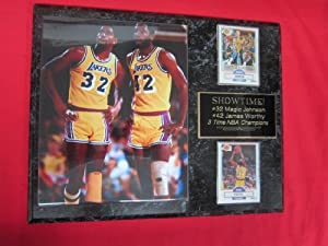 Magic Johnson James Worthy Los Angeles Lakers 2 Card Collector Plaque w 8x10 photo by J & C Baseball Clubhouse