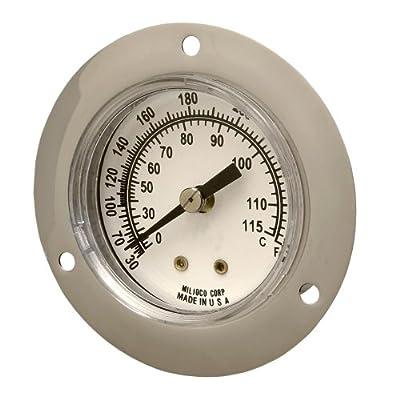 "Miljoco V2036 Vapor Dial Thermometer, Flush Mount, 2"" Dial, Plain Front Flange Connection"