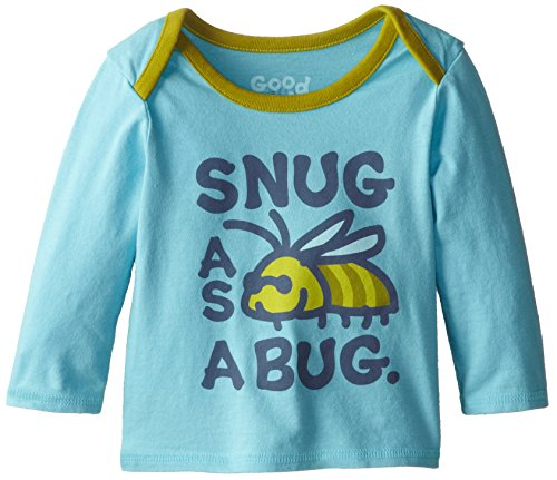 Life Is Good Baby Ringer Long Sleeve Snug As A Bug T-Shirt (Surfer Blue), 36 front-642793