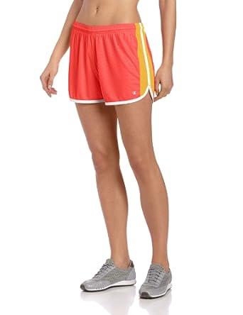 Champion Women's Flex Short, Neon Coral Embossed/Deco Orange/White, X-Large