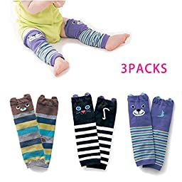 Kids (S-02) Mikimoko 3 Pairs Cute Cotton Cartoon Soft Baby Toddler Crawling Knee Leg Sleeve Warmers Pads Protector High Tube Socks for Boys under 3 years Old