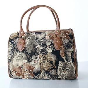 women's black canvas weekend travel duffle bag lucky cat design