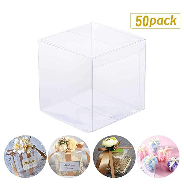Hasken 50 Pack Clear Favor Boxes Clear Gift Boxes Transparent Cube Boxes for Wedding Party Bridal Shower 3 L x 3 W x 3 H (Color: 3 x 3 x 3inch box)