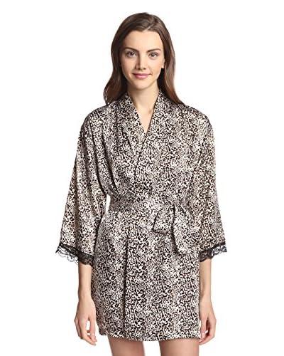 Aegean Apparel Women's Short Kimono Leopard Printed Satin Robe