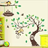Toprate (TM) 120''X57'' Super Large Nursery Forest Monkeys Birds Owl on Green Trees Wall Art Stickers Decal for Nursery Home Decor Boys and Girls Home