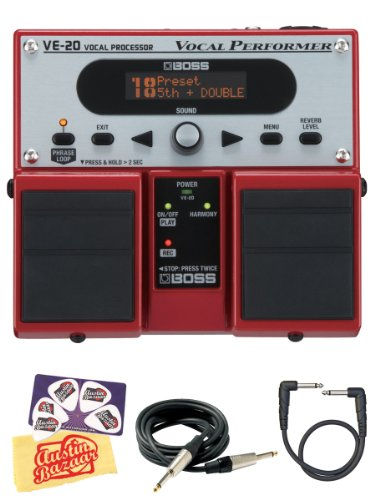 Boss Ve-20 Vocal Performer Multi-Effects Pedal Bundle With Ac Adapter Power Supply, Instrument Cable, Patch Cable, Picks, And Polishing Cloth