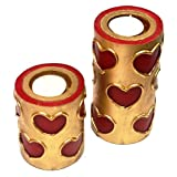 Set Of Two Red And Gold Hearts With Tealight Candles