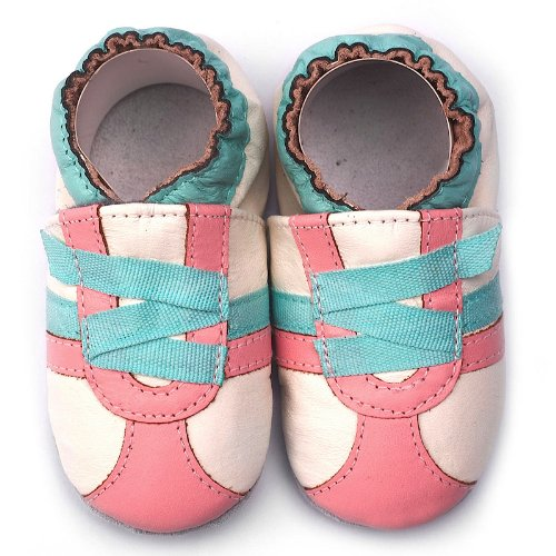 Momo Baby Infant/Toddler Z-Strap Sneaker Pink Soft Sole Leather Shoes - 18-24 Months/6-7 M Us Toddler front-927636
