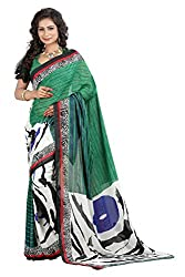 Pruthu Georgette Sari with Unstitched Blouse (pmadh_008_Green)