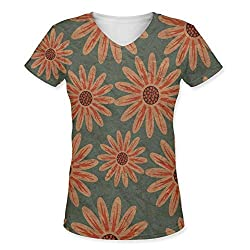Snoogg Colorful Floral Pattern In Cartoon Style Texture With Flowers Endless Flora Womens Casual V-Neck All Over Printed T Shirts Tees