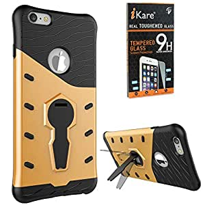 DMG Sniper Dual Layer Hybrid Back Cover Kickstand Case for Apple iPhone 6 Plus 6S Plus (Gold) + Tempered Glass Screen Protector