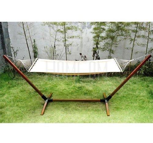 New Garden Outdoor Patio Hammock Wooden Hammock With Wood Stand Standing Frame