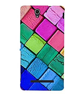 Colourful Square Pattern 3D Hard Polycarbonate Designer Back Case Cover for Sony Xperia C3 Dual :: Sony Xperia C3 Dual D2502