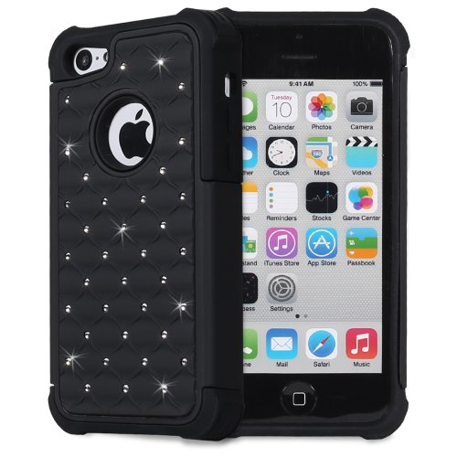 Fosmon Hybo-Sd Series Pc + Silicone Hybrid Bumper Diamond Bling Case For Apple Iphone 5C (Black / Black)