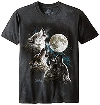 The Mountain Men's Three Wolf Moon Short Sleeve Tee,Dark Green,Small