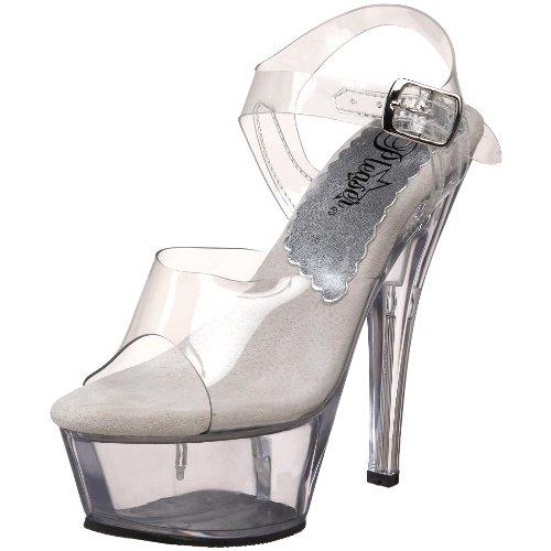 Pleaser Women's Kiss-208L Platform Sandal,Clear,6 M US