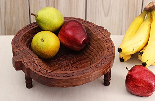 Mothers Day Gift Impressive Hand Carved Wooden Collapsible Fruit Basket (10 x 10 inches) Kitchen Accessory