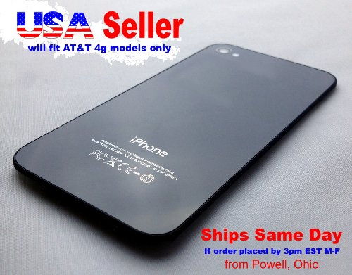 At&T Iphone 4 Black Glass Replacement Back Cover