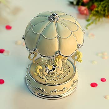 LIWUYOU Luxury Large Size Color Change LED Light Luminous Rotating Carousel Horse Musical Box With Music of Castle in the Sky Color Beige