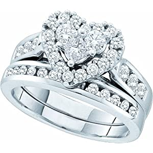 Diamond Heart Shaped Wedding Engagement Bridal Ring Set