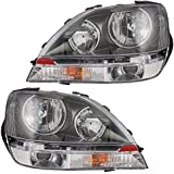 Driver and Passenger Halogen Headlights Headlamps with Black Bezels Replacement for Lexus 8115048031 8111048031