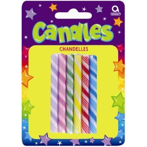 "Amscan Classic Large Candy Cane Birthday Candles, Assorted Colors, 2.5"" - 1"