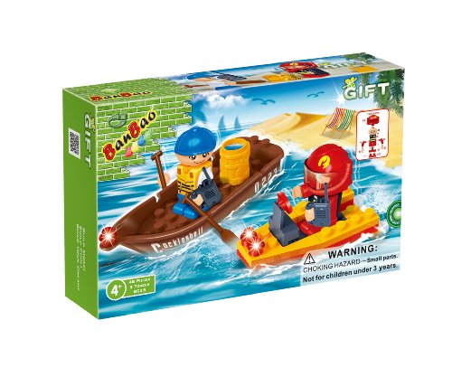 BanBao Rowboat and Rescue Boat Building Set, 48-Piece