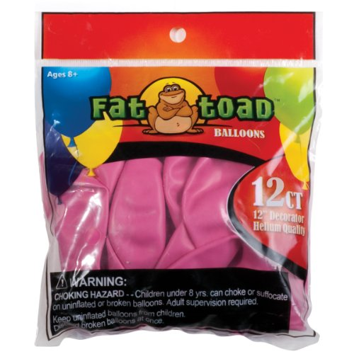 Axiom International Fat Toad Latex Balloons, 12-Inch, Fuchsia Pink, 12-Pack