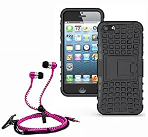 Hard Dual Tough Military Grade Defender Series Bumper back case with Flip Kick Stand for Iphone 5SE + Stylish zipper hand free for all smart phones by Carla Store